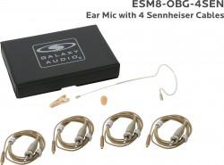 ESM8-OBG-4SEN: Beige Omni-Directional Ear Mic: Includes (1) Single Ear Mic, (4) Beige Sennheiser Connector Cables, (1) Windscreen, (1) Mic Clip, and (1) Case