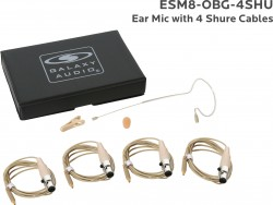 ESM8-OBG-4SHU: Beige Omni-Directional Ear Mic: Includes (1) Single Ear Mic, (4) Biege Shure Connector Cables, (1) Windscreen, (1) Mic Clip, and (1) Case