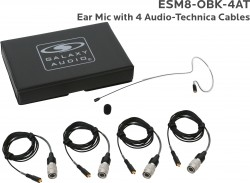 ESM8-OBK-4AT: Black Omni-Directional Ear Mic: Includes (1) Single Ear Mic, (4) Black Generation 1 cW Audio-Technica Connector Cables, (1) Windscreen, and (1) Case