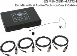 ESM8-OBK-4ATCH: Black Omni-Directional Ear Mic: Includes (1) Single Ear Mic, (4) Black Generation 2 cH Audio-Technica Connector Cables, (1) Windscreen, and (1) Case