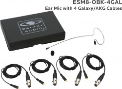 ESM8-OBK-4GAL: Black Omni-Directional Ear Mic: Includes (1) Single Ear Mic, (4) Black Galaxy Audio/AKG Connector Cables, (1) Windscreen, and (1) Case