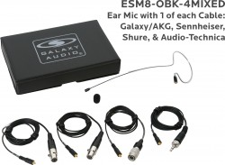 ESM8-OBK-4MIXED: Black Omni-Directional Ear Mic: Includes (1) Single Ear Mic, (4) Black Mixed Connector Cables [1 Audio-Technica, 1 Galaxy Audio/AKG, 1 Sennheiser, 1 Shure], (1) Windscreen, and (1) Case
