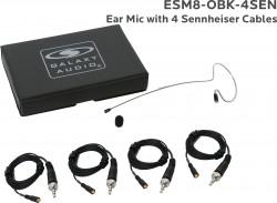 ESM8-OBK-4SEN: Black Omni-Directional Ear Mic: Includes (1) Single Ear Mic, (4) Black Sennheiser Connector Cables, (1) Windscreen, and (1) Case