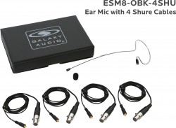 ESM8-OBK-4SHU: Black Omni-Directional Ear Mic: Includes (1) Single Ear Mic, (4) Black Shure Connector Cables, (1) Windscreen, and (1) Case