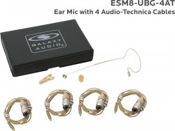 ESM8-UBG-4AT: Beige Uni-Directional Ear Mic: Includes (1) Single Ear Mic, (4) Beige Generation 1 cW Audio-Technica Connector Cables, (1) Windscreen, (1) Mic Clip, and (1) Case