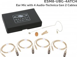 ESM8-UBG-4ATCH: Beige Uni-Directional Ear Mic: Includes (1) Single Ear Mic, (4) Beige Generation 2 cH Audio-Technica Connector Cables, (1) Windscreen, (1) Mic Clip, and (1) Case