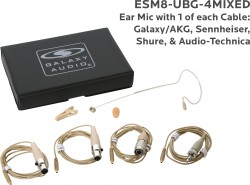 ESM8-UBG-4MIXED: Beige Uni-Directional Ear Mic: Includes (1) Single Ear Mic, (4) Beige Mixed Connector Cables [1 Audio-Technica, 1 Galaxy Audio/AKG, 1 Sennheiser, 1 Shure], (1) Windscreen, (1) Mic Clip, and (1) Case