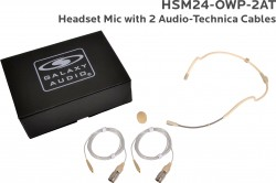 HSM24-OWP-2AT: Beige Omni-Directional Waterproof Headset Mic: Includes (1) Dual Ear Waterproof Headset Mic, (2) Waterproof Audio-Technica Connector Cables, (1) Windscreen, and (1) Case