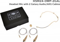 HSM24-OWP-2GAL: Beige Omni-Directional Waterproof Headset Mic: Includes (1) Dual Ear Waterproof Headset Mic, (2) Waterproof Galaxy Audio/AKG Connector Cables, (1) Windscreen, and (1) Case