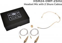 HSM24-OWP-2SHU: Beige Omni-Directional Waterproof Headset Mic: Includes (1) Dual Ear Waterproof Headset Mic, (2) Waterproof Shure Connector Cables, (1) Windscreen, and (1) Case