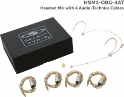 HSM3-OBG-4AT: Beige Omni-Directional Headset Mic: Includes (1) Dual Ear Headset Mic, (4) Biege Audio-Technica Connector Cables, (1) Windscreen, and (1) Case
