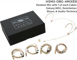 HSM3-OBG-4MIXED: Beige Omni-Directional Headset Mic: Includes (1) Dual Ear Headset Mic, (4) Biege Mixed Connector Cables [1 Audio-Technica, 1 Galaxy Audio/AKG, 1 Sennheiser, 1 Shure], (1) Windscreen, and (1) Case