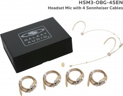 HSM3-OBG-4SEN: Beige Omni-Directional Headset Mic: Includes (1) Dual Ear Headset Mic, (4) Biege Sennheiser Connector Cables, (1) Windscreen, and (1) Case