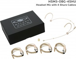 HSM3-OBG-4SHU: Beige Omni-Directional Headset Mic: Includes (1) Dual Ear Headset Mic, (4) Biege Shure Connector Cables, (1) Windscreen, and (1) Case