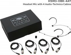 HSM3-OBK-4AT: Black Omni-Directional Headset Mic: Includes (1) Dual Ear Headset Mic, (4) Black Audio-Technica Connector Cables, (1) Windscreen, and (1) Case