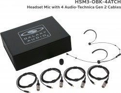 HSM3-OBK-4ATCH: Black Omni-Directional Headset Mic: Includes (1) Dual Ear Headset Mic, (4) Black Generation 2 cH Audio-Technica Connector Cables, (1) Windscreen, and (1) Case