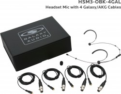 HSM3-OBK-4GAL: Black Omni-Directional Headset Mic: Includes (1) Dual Ear Headset Mic, (4) Black Galaxy Audio/AKG Connector Cables, (1) Windscreen, and (1) Case
