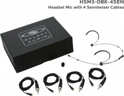 HSM3-OBK-4SEN: Black Omni-Directional Headset Mic: Includes (1) Dual Ear Headset Mic, (4) Black Sennheiser Connector Cables, (1) Windscreen, and (1) Case