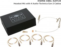 HSM8-OBG-4ATCH: Beige Omni-Directional Headset Mic: Includes (1) Dual Ear Headset Mic, (4) Beige Generation 2 cH Audio-Technica Connector Cables, (1) Windscreen, (1) Mic Clip, and (1) Case