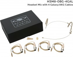 HSM8-OBG-4GAL: Beige Omni-Directional Headset Mic: Includes (1) Dual Ear Headset Mic, (4) Biege Galaxy Audio/AKG Connector Cables, (1) Windscreen, (1) Mic Clip, and (1) Case