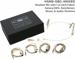 HSM8-OBG-4MIXED: Beige Omni-Directional Headset Mic: Includes (1) Dual Ear Headset Mic, (4) Biege Mixed Connector Cables [1 Audio-Technica, 1 Galaxy Audio/AKG, 1 Sennheiser, 1 Shure], (1) Windscreen, (1) Mic Clip, and (1) Case