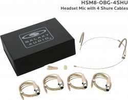 HSM8-OBG-4SHU: Beige Omni-Directional Headset Mic: Includes (1) Dual Ear Headset Mic, (4) Beige Shure Connector Cables, (1) Windscreen, (1) Mic Clip, and (1) Case