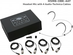 HSM8-OBK-4AT: Black Omni-Directional Headset Mic: Includes (1) Dual Ear Headset Mic, (4) Black Generation 1 cW Audio-Technica Connector Cables, (1) Windscreen, (1) Mic Clip, and (1) Case