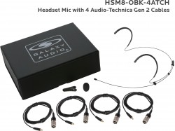 HSM8-OBK-4ATCH: Black Omni-Directional Headset Mic: Includes (1) Dual Ear Headset Mic, (4) Black Generation 2 cH Audio-Technica Connector Cables, (1) Windscreen, (1) Mic Clip, and (1) Case