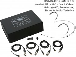 HSM8-OBK-4MIXED: Black Omni-Directional Headset Mic: Includes (1) Dual Ear Headset Mic, (4) Black Mixed Connector Cables [1 Audio-Technica, 1 Galaxy Audio/AKG, 1 Sennheiser, 1 Shure], (1) Windscreen, (1) Mic Clip, and (1) Case