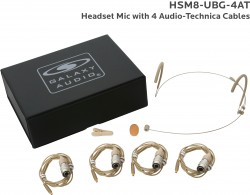 HSM8-UBG-4AT: Beige Uni-Directional Headset Mic: Includes (1) Dual Ear Headset Mic, (4) Beige Generation 1 cW Audio-Technica Connector Cables, (1) Windscreen, (1) Mic Clip, and (1) Case