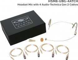 HSM8-UBG-4ATCH: Beige Uni-Directional Headset Mic: Includes (1) Dual Ear Headset Mic, (4) Beige Generation 2 cH Audio-Technica Connector Cables, (1) Windscreen, (1) Mic Clip, and (1) Case