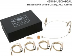 HSM8-UBG-4GAL: Beige Uni-Directional Headset Mic: Includes (1) Dual Ear Headset Mic, (4) Biege Galaxy Audio/AKG Connector Cables, (1) Windscreen, (1) Mic Clip, and (1) Case