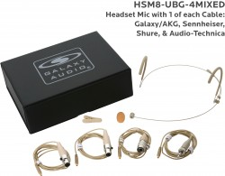 HSM8-UBG-4MIXED: Beige Uni-Directional Headset Mic: Includes (1) Dual Ear Headset Mic, (4) Biege Mixed Connector Cables [1 Audio-Technica, 1 Galaxy Audio/AKG, 1 Sennheiser, 1 Shure], (1) Windscreen, (1) Mic Clip, and (1) Case