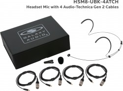 HSM8-UBK-4ATCH: Black Uni-Directional Headset Mic: Includes (1) Dual Ear Headset Mic, (4) Black Generation 2 cH Audio-Technica Connector Cables, (1) Windscreen, (1) Mic Clip, and (1) Case