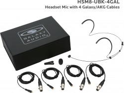 HSM8-UBK-4GAL: Black Uni-Directional Headset Mic: Includes (1) Dual Ear Headset Mic, (4) Black Galaxy Audio/AKG Connector Cables, (1) Windscreen, (1) Mic Clip, and (1) Case