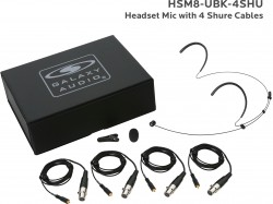 HSM8-UBK-4SHU: Black Uni-Directional Headset Mic: Includes (1) Dual Ear Headset Mic, (4) Black Shure Connector Cables, (1) Windscreen, (1) Mic Clip, and (1) Case