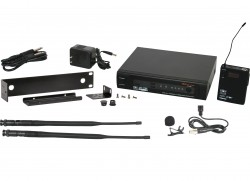 PSER/52LV - Lavalier Mic: Uni-element, Frequency Response 50Hz-19kHz. This system includes the PSER Receiver, the MBP52 Body Pack Transmitter, and the LV-U3BK Lavalier Microphone. System also includes MREWD Single/Dual Rack Kit.