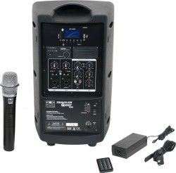 TQ8-20H0N Single Handheld model includes the TQ8 PA Speaker with a Single Mic Receiver, TQHH Handheld Mic, MP3 Remote, and Power Supply.