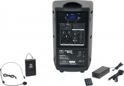 TQ8-20S0N Single Headset model includes the TQ8 PA Speaker with a Single Mic Receiver, TQMBP Body Pack, HS13-UBK Headset Mic, MP3 Remote, and Power Supply.