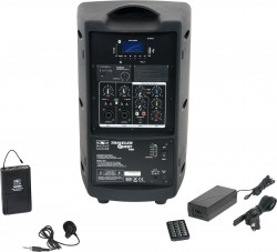 TQ8-20V0N Single Lavalier model includes the TQ8 PA Speaker with a Single Mic Receiver, TQMBP Body Pack, LV13-UBK Lavalier Mic, MP3 Remote, and Power Supply.