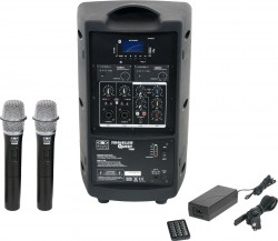 TQ8-24HHN Dual Handheld model includes the TQ8 PA Speaker with Two Mic Receivers, Two TQHH Handheld Mics, MP3 Remote, and Power Supply.