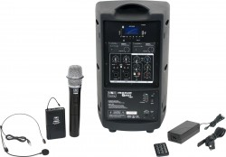 TQ8-24HSN Handheld and Headset model includes the TQ8 PA Speaker with Two Mic Receivers, a Handheld Mic, TQMBP Body Pack, HS13-UBK Headset Mic, MP3 Remote, and Power Supply.
