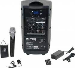 TQ8-24HVN Handheld and Lavalier model includes the TQ8 PA Speaker with Two Mic Receivers, a Handheld Mic, TQMBP Body Pack, LV13-UBK Lavalier Mic, MP3 Remote, and Power Supply.