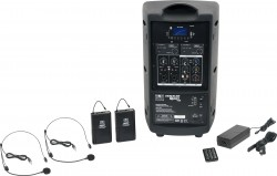 TQ8-24SSN Dual Headset model includes the TQ8 PA Speaker with Two Mic Receivers, Two TQMBP Body Packs, Two HS13-UBK Headset Mics, MP3 Remote, and Power Supply.