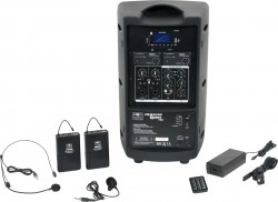 TQ8-24SVN Headset and Lavalier model includes the TQ8 PA Speaker with Two Mic Receivers, Two TQMBP Body Packs, a HS13-UBK Headset Mic, LV13-UBK Lavalier Mic, MP3 Remote, and Power Supply.