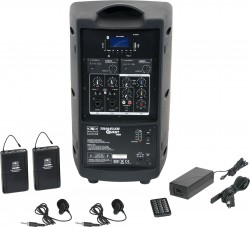 TQ8-24VVN Dual Lavalier model includes the TQ8 PA Speaker with Two Mic Receivers, Two TQMBP Body Packs, Two LV13-UBK Lavalier Mics, MP3 Remote, and Power Supply.