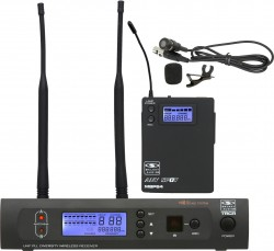 TRCR/64LV - Body Pack (MBP64): IR Sync, 2 AA Batteries, Mic/0/-10dB, Group Channel, Frequency Display.