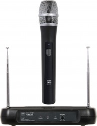 VSCR/H18 - Wireless Hand Held Microphone System: Low Battery LED, On//Off Switch, Dynamic Cardoid. This system includes the VSCR Receiver with 2 telescopic antennas, the HH18 Handheld Transmitter, and power supply.