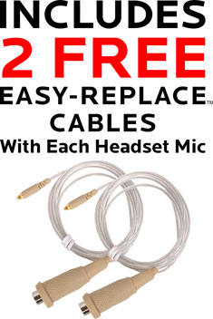 HSM24 Waterproof Headset Mic with 2 Free Cables