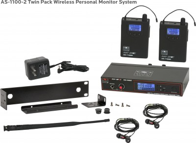AS-1100-2 with EB4 Twin Pack Wireless In-Ear System